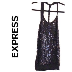 Express black sequin tank-S-EUC